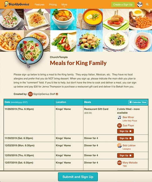 meals for the king family sign up