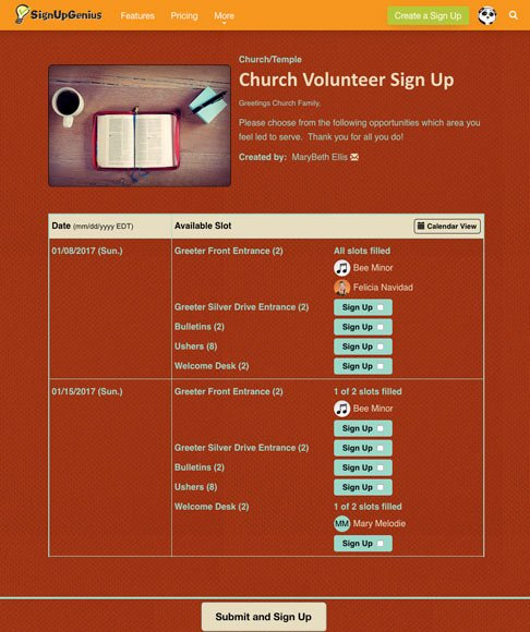 church volunteer sign up