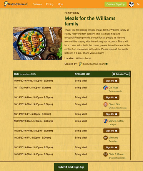 meals for the williams family sign up