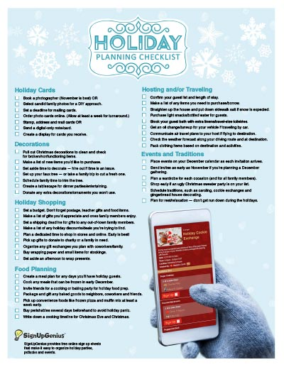 Holiday Planning Checklist