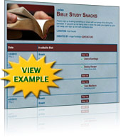 Bible Study Snack Sign Up Template
