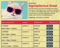 Cool Cat sign up sheet