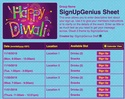 Diwali 2 sign up sheet