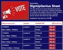 Election Vote sign up sheet