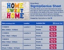Home Sweet Home sign up sheet