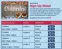 Octoberfest sign up sheet