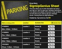 Parking sign up sheet