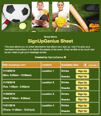 sports teams practices snacks boosters athlete intramurals volleyball tennis soccer green sign up form