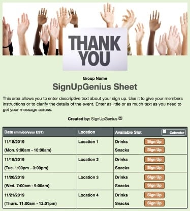 volunteers volunteering appreciation thanks gratitude nonprofit green sign up form