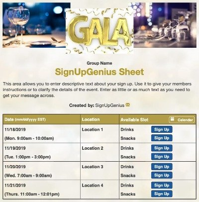charity nonprofit gala fundraising fundraiser benefit dinner auction sign up form