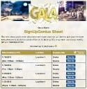 Charity Gala sign up sheet