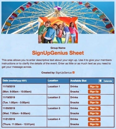 carnivals festivals ferris wheel playing children games blue sign up form