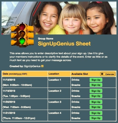carpooling carpools kids parents driving sign up form