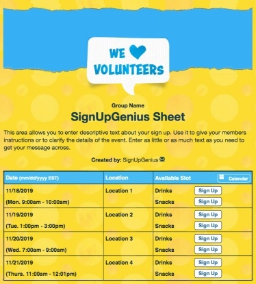 volunteering volunteers PTA PTO nonprofit appreciation recruitment sign up form