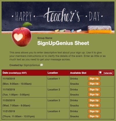 teacher appreciation school chalkboard apple green sign up form