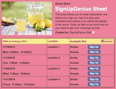 lemons lemonade lemonaide fundraiser fundraising picnic drinks refreshments pink sign up form