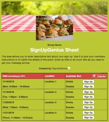 summer picnics potlucks cookouts sandwiches grill green sign up form