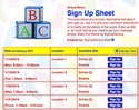 Baby Fun sign up sheet
