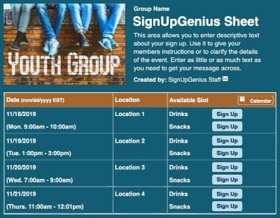 youth group church teens students sign up form