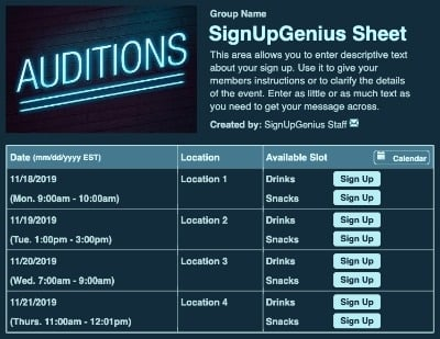 talents shows auditions casting theaters theatres singing contests sign up form
