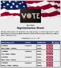 Election Polls sign up sheet