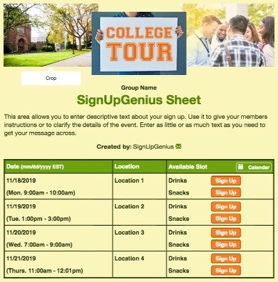colleges campus tours admissions ambassadors sign up form