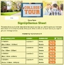 College Tour sign up sheet