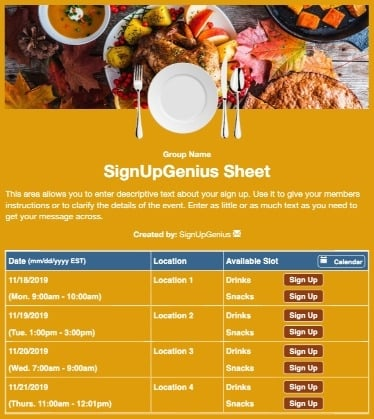 fall autumn harvest thanksgiving dinners meals sign up form