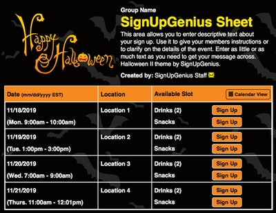 Halloween Potluck Sign Up Sheet Halloween ii sign up sheet