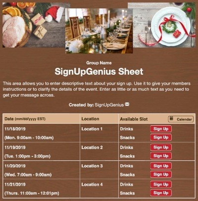 company holidays christmas party dinner meals sign up form