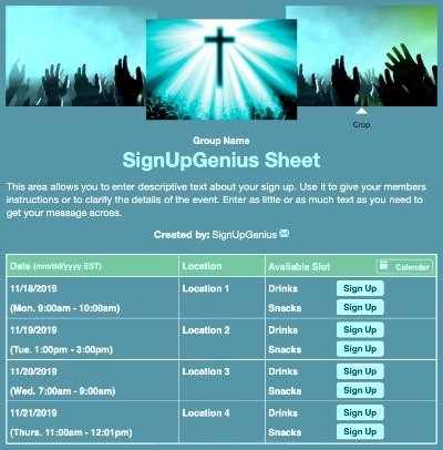 Sunday worship cross prayer praise church blue sign up form
