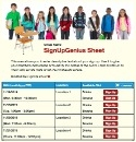 School Children sign up sheet