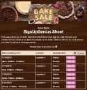 Bake Sale Pies sign up sheet