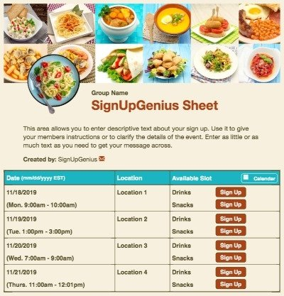 food meals potlucks restaurants beige sign up form
