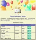 Birthday Balloons sign up sheet