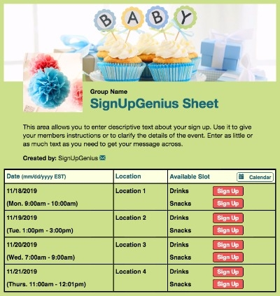 baby shower sprinkle gender neutral cupcakes gifts green sign up form