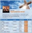 Crosses sign up sheet