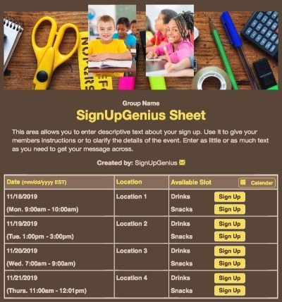 schools supplies classroom students project technology brown sign up form