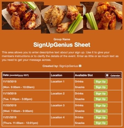 food wings cookout potlucks bbq barbeque orange sign up form