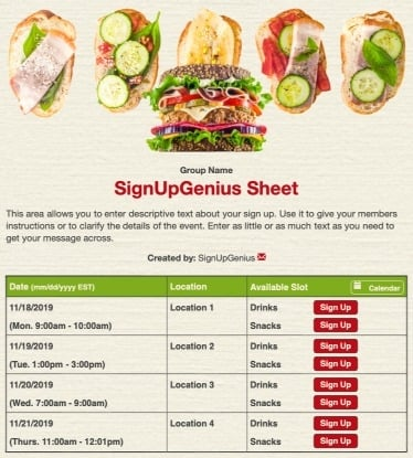 sandwich food meal lunch potlucks picnic beige sign up form