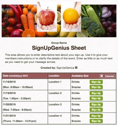 food healthy snacks beige sign up form