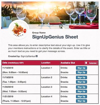 dinner wine formal meals client restaurant beige sign up form
