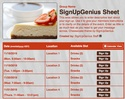 Cheesecake sign up sheet