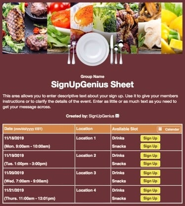meals potlucks dinner casseroles food parties party brown sign up form
