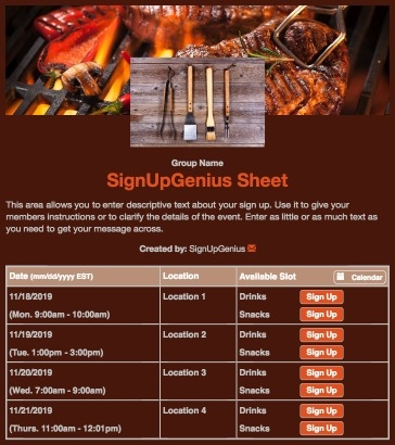 grill cookout fire party bbq barbecue barbeque brown sign up form