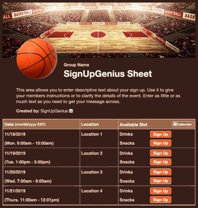 basketball court tournaments sports games teams brown sign up form
