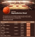Basketball Court sign up sheet