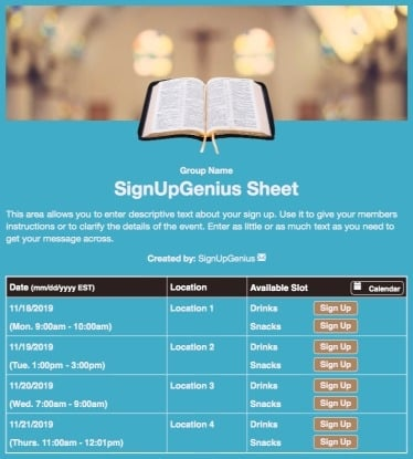 bibles church sunday sanctuary prayer worship blue sign up form