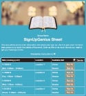 Bible Reading sign up sheet