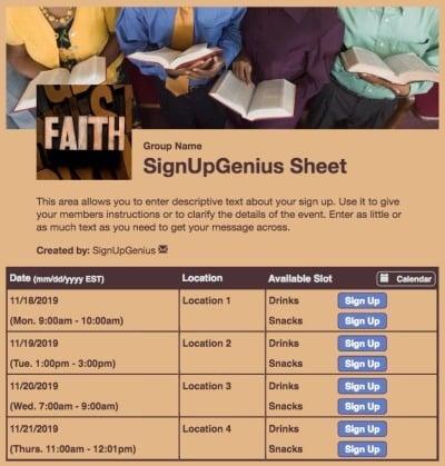 bible prayer Sunday worship church choir brown sign up form
